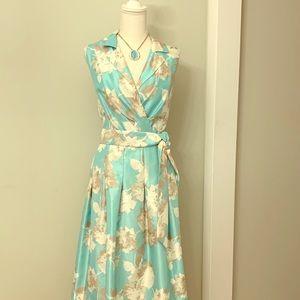 Gorgeous Mint Colored Print Satin Dress